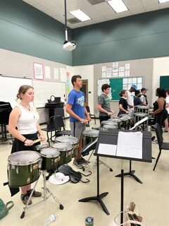 Practicing with Drumline